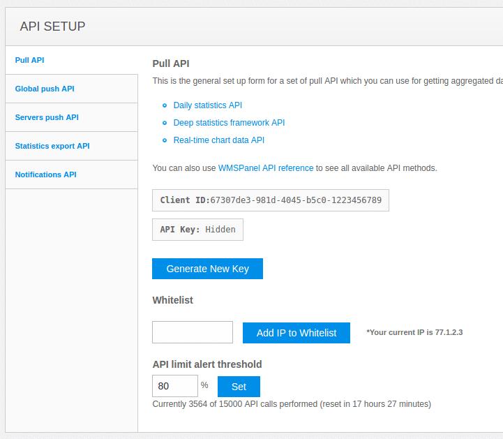 WMSPanel API reference for server control and data aggregation